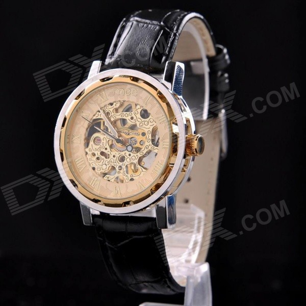Mce 01-0060293 Men's Skeleton Mechanical Analog Wristwatch - Golden + Black