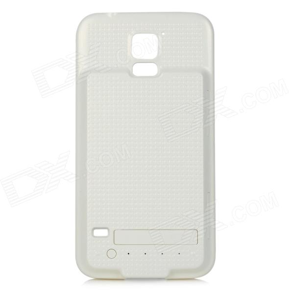 5V 3400mAh Li-polymer ABS Back Case Battery w/ Stand for Samsung S5 - White 3200mah floureon li polymer battery case