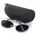 Oulaiou 9212 Women's Retro Round UV400 PC Lens Sunglasses - Black + Grey