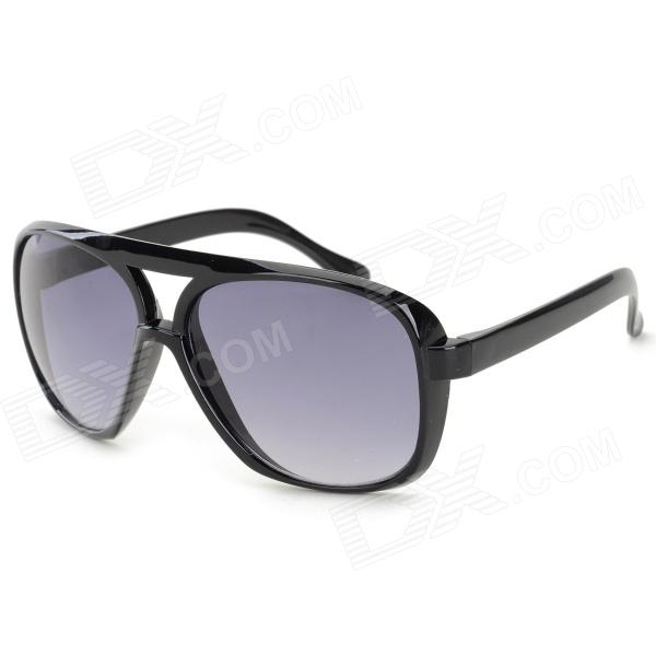 Stylish Dual Bridge UV400 Protection PC Lens Sunglasses - Black + Grey black bridge