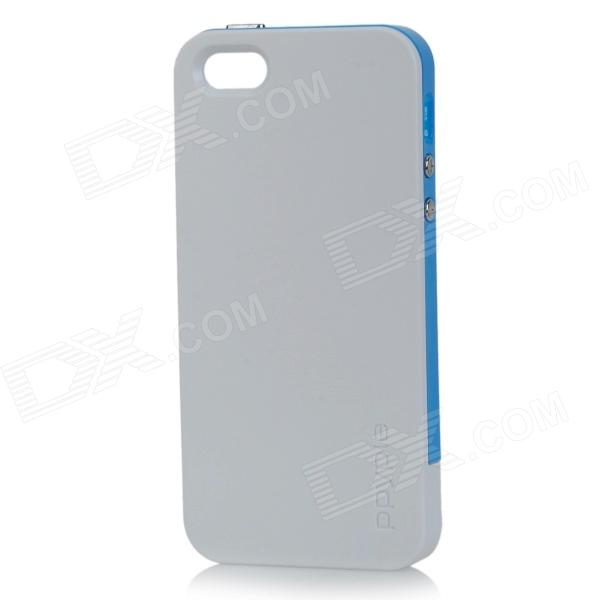PPYPLE ACi5+ Protective TPE + PU Back Case for IPHONE 5 / 5S - White + Blue