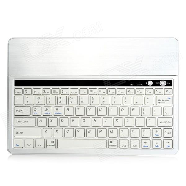 KB651 Universal 82-key Bluetooth Aluminum Alloy Keyboard w/ Built-in Tablet PC Stand - White Silver universal 61 key bluetooth keyboard w pu leather case for 7 8 tablet pc black