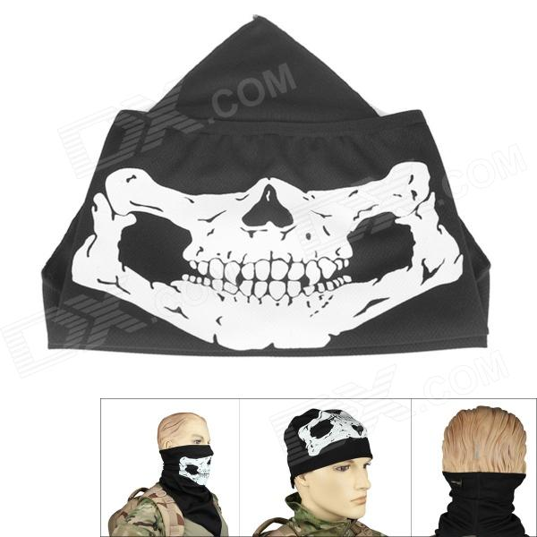 Outdoor Reflective Skull Style UV Protection Mask for Cycling - Black protective outdoor war game military skull half face shield mask black