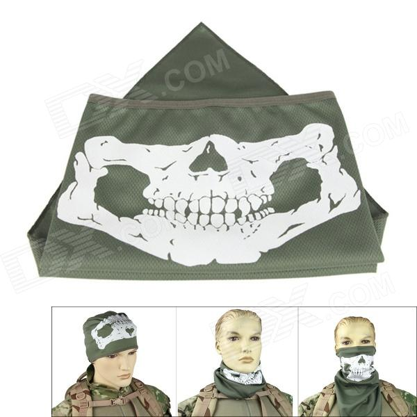 Outdoor Reflective Skull Style UV Protection Mask for Cycling - Army Green m02 field cs skull mask chieftain mask dark yellow
