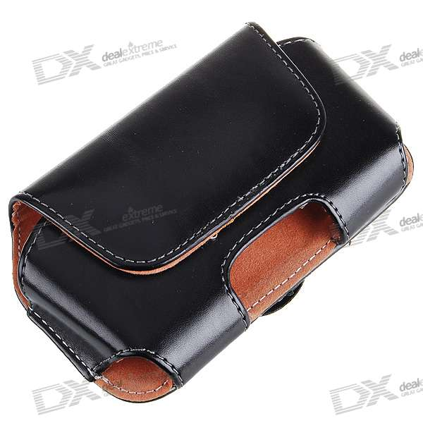 Flip-on Protective Leather Case with Belt Hole and Clip for Iphone 2G/3G/3GS (Black)