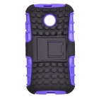 Protective TPU + PC Case w/ Stand for Motorola Moto E - Black + Purple