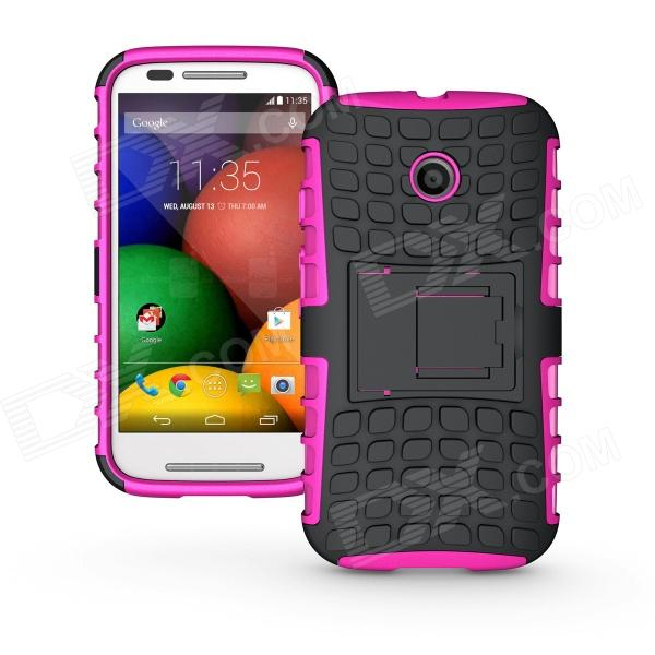 Protective TPU + PC Case w/ Stand for Motorola Moto E - Black + Pink nillkin star series protective case for moto g2 pink