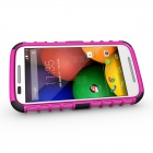 Protective TPU + PC Case w/ Stand for Motorola Moto E - Black + Pink