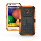 Protective TPU + PC Case w/ Stand for Motorola Moto E - Black + Orange