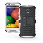 Protective TPU + PC Case w/ Stand for Motorola Moto E Phone - Black + White