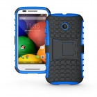 Protective TPU + PC Case Stand for Motorola Moto E Phone - Black + Blue