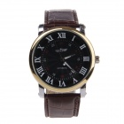 WINNER TM340 Men's Split Leather Band Mechanical Analog Wristwatch w/ Calendar - Brown + Black