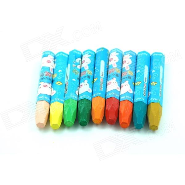 Cartoon Pattern Hexagonal 18-Color Wax Crayons - White + Blue + Multicolored (18 PCS)