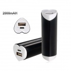 Love Heart Shaped Universal 2000mAh USB Li-ion Battery Power Bank for IPHONE / Samsung - Black