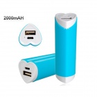 Universal Heart Shaped 2000mAh Dual USB External Mobile Power Bank for IPHONE 5 and Others - Blue