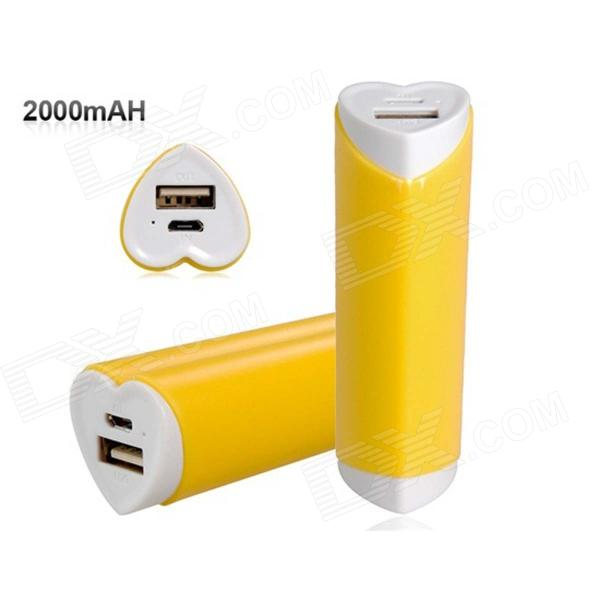 Love Heart Shaped Universal 2000mAh USB Li-ion Battery Power Bank for IPHONE / Samsung - Yellow