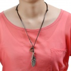 Plume Style Zinc Alloy Necklace w/ Adjustable Leather Chain - Brown + Bronze
