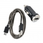 5V 1A USB Car Charger w/ Data Cable for Samsung Galaxy S3 / S4 / Note2 + More - Black (DC 12~24V)