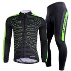 NUCKILY CJ122 / CK122 Men's Cycling Long Jersey Clothes + Pants Set - Black + Green (XXL)