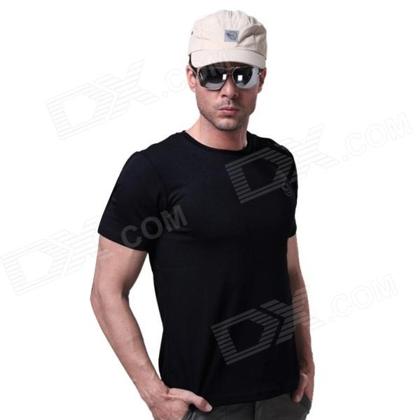 LANGZUYOUDANG 2170 Men's Outdoor Sports Quick-Dry Short-sleeved T-shirt - Black (L)