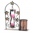 Creative Sandy Clock Floral Door Style Pen Holder Container - Pink + Antique Brass