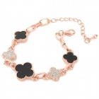 Women's Fashionable Flower Style Zinc Alloy Chain Bracelet w/ Rhinestone - Rose Gold + Black