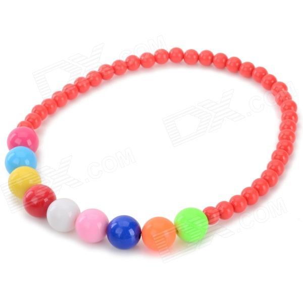 Girl's / Children's Colorful Bead Style ABS Necklace - Red + Multi-colored asics 7in short