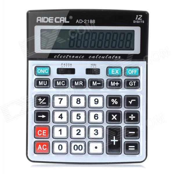 AD-2188 Solar / Battery Powered 12-Digit Screen Electronic Calculator - Black + Grey White (1 x AA) solar battery powered butterfly random color