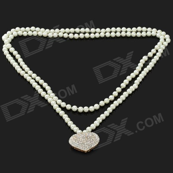 Women's Heart Style Pendant Long Artificial Pearl Necklace - White annular black pearl diamond pendant alloy necklace
