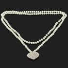 Women's Heart Style Pendant Long Artificial Pearl Necklace - White