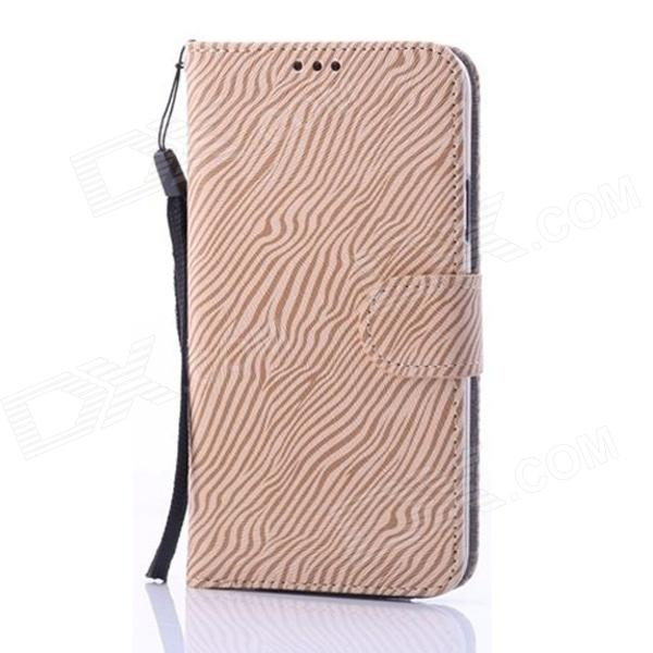 Enkay Zebra-rayure protection en cuir PU Housse Support pour Samsung Galaxy S5 - Light Brown