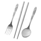 Portable Stainless Steel Spoon + Fork + Chopsticks Set w/ Zippered Pouch - Silvery Grey