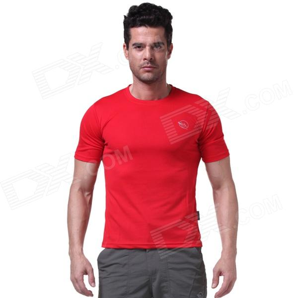 LangZuYouDang Men's Outdoor Sports Quick-Dry Short-sleeved T-shirt - Red (XL)
