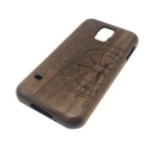 Compass Pattern Detachable Protective Wooden Back Case for Samsung Galaxy S5 - Brown + Burlywood