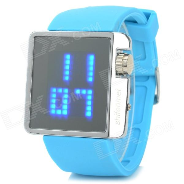 ShiFenMei 1.3'' LCD Zinc Alloy Casing Silicone Wristband Digital Blue LED Wrist Watch (1 x CR2032)