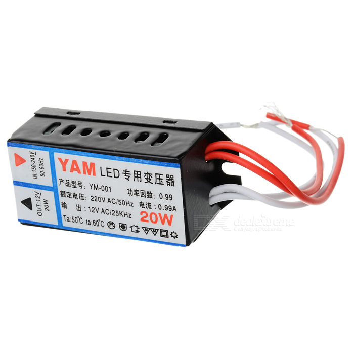 HH34 AC 220V to 12V 20W LED Power Supply Transformer - Black