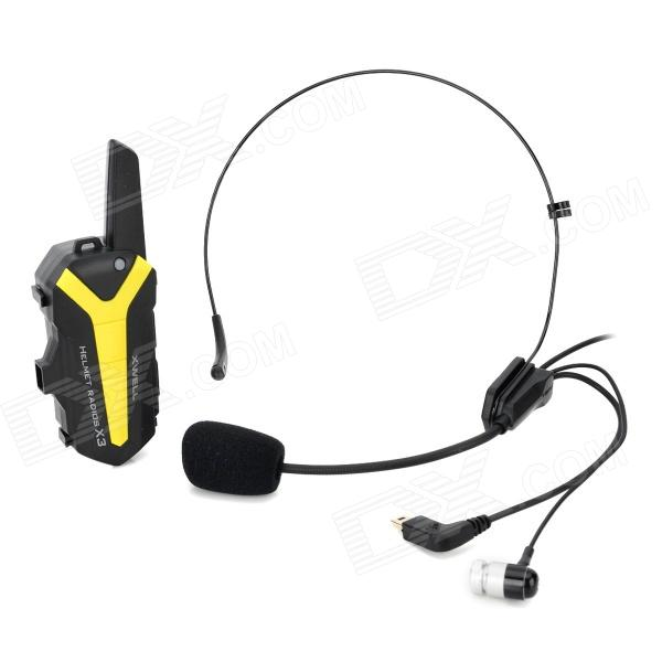 Genun T3 Mini 16-CH Helmet Mounted Speaker + Microphone Walkie Talkie System for Motorcycle - Yellow