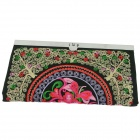 Retro Flower Pattern Hand-Embroidered Cotton Women's Wallet - Black + Multicolored