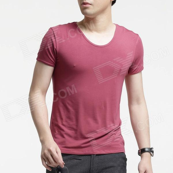 FENL A520 Men's Slim Fit Round Neck Short-Sleeve Modal T-Shirt Tee - Apricot Pink (Size XXL)