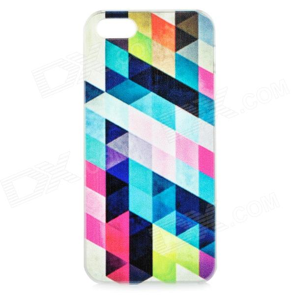 Colorful Rhombus Patterned Protective ABS Back Case for IPHONE 5 / 5S - Transparent + Multi-colored