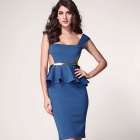 Fashionable Side Hollow Out Side Style Slim Peplum Dress - Blue (Size L)