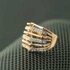 EQute Fashionable White Rhinestones Women's Finger Ring - Golden (Size 9)