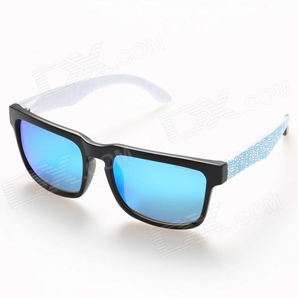 OREKA 999 Fashion Polarized TR90 Frame Resin Lens Sunglasses - Black + Blue oreka uv 400 protection fashion resin lens polarized sunglasses black blue
