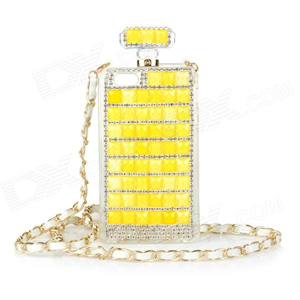 Perfume Bottle Style Rhinestone Inlaid Back Case w/ Strap for IPHONE 5 / 5S - Yellow + Golden xxsl021 women s stylish star style rhinestone inlaid charm bracelet golden