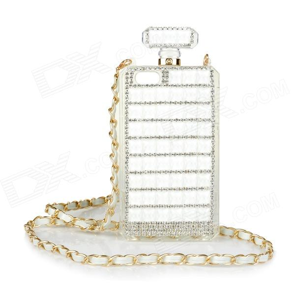 Perfume Bottle Style Rhinestone Inlaid Back Case w/ Strap for IPHONE 5 / 5S - White + Golden xxsl021 women s stylish star style rhinestone inlaid charm bracelet golden