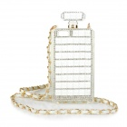 Perfume Bottle Style Rhinestone Inlaid Back Case w/ Strap for IPHONE 5 / 5S - White + Golden