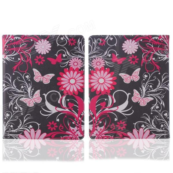 ENKAY Butterfly mønster beskyttende PU skinn coveret står for IPAD 2 / 3 / 4 - Black + rød
