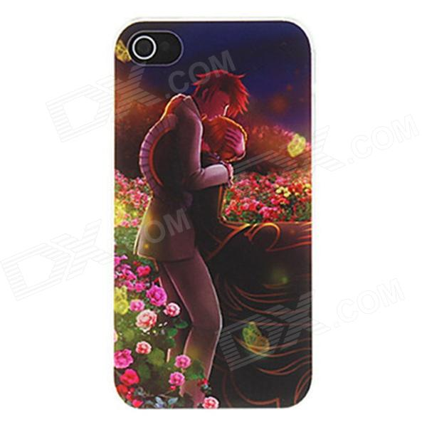 где купить Kinston Lover Hugging in Romantic Sea of Flowers Pattern Matte PC Hard Case for IPHONE 4 / 4S дешево