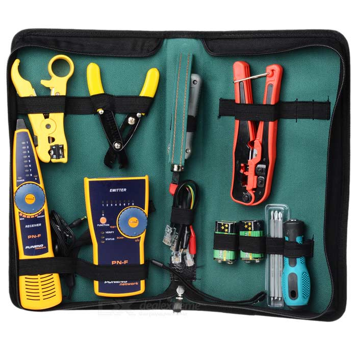 WLXY WL-29 Network / Telephone Wiring Installation Maintenance Tool Set - Green + Blue pro skit cp 462g wire ferrule square crimping pliers green black 175mm