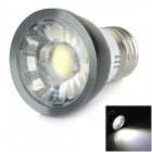 E27 4W 180lm 6000K COB White Light Bulb - White + Dark Grey + Silver (AC 85~265V)